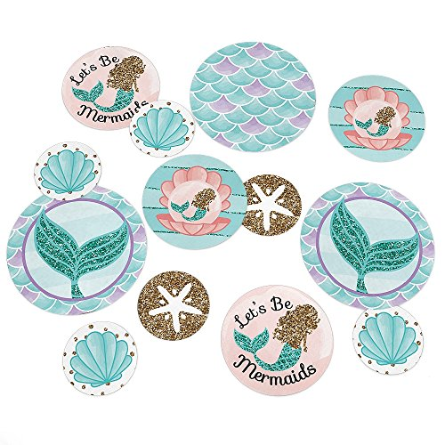 Let's Be Mermaids - Baby Shower or Birthday Party Giant Circle Confetti - Party Decorations - Large Confetti 27 Count