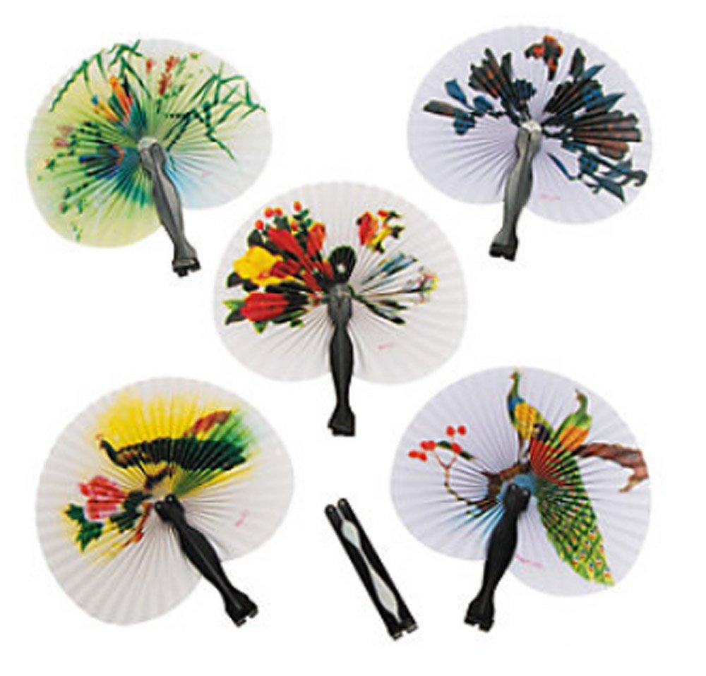 Amazon.com: 48 Oriental Folding Fans Tea Party Favor Chinese Paper ...