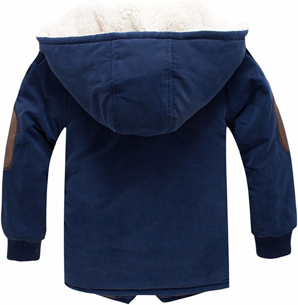 Boys Winter Fleece Jacket Coat Kids Warm Thicken Hoodies Outwear Overcoat Oblique Zipper