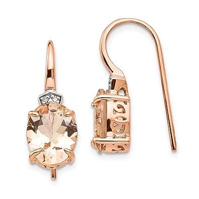 Icecarats 14 K Or Rose Diamant Morganite Pendants Lustre Boucles D