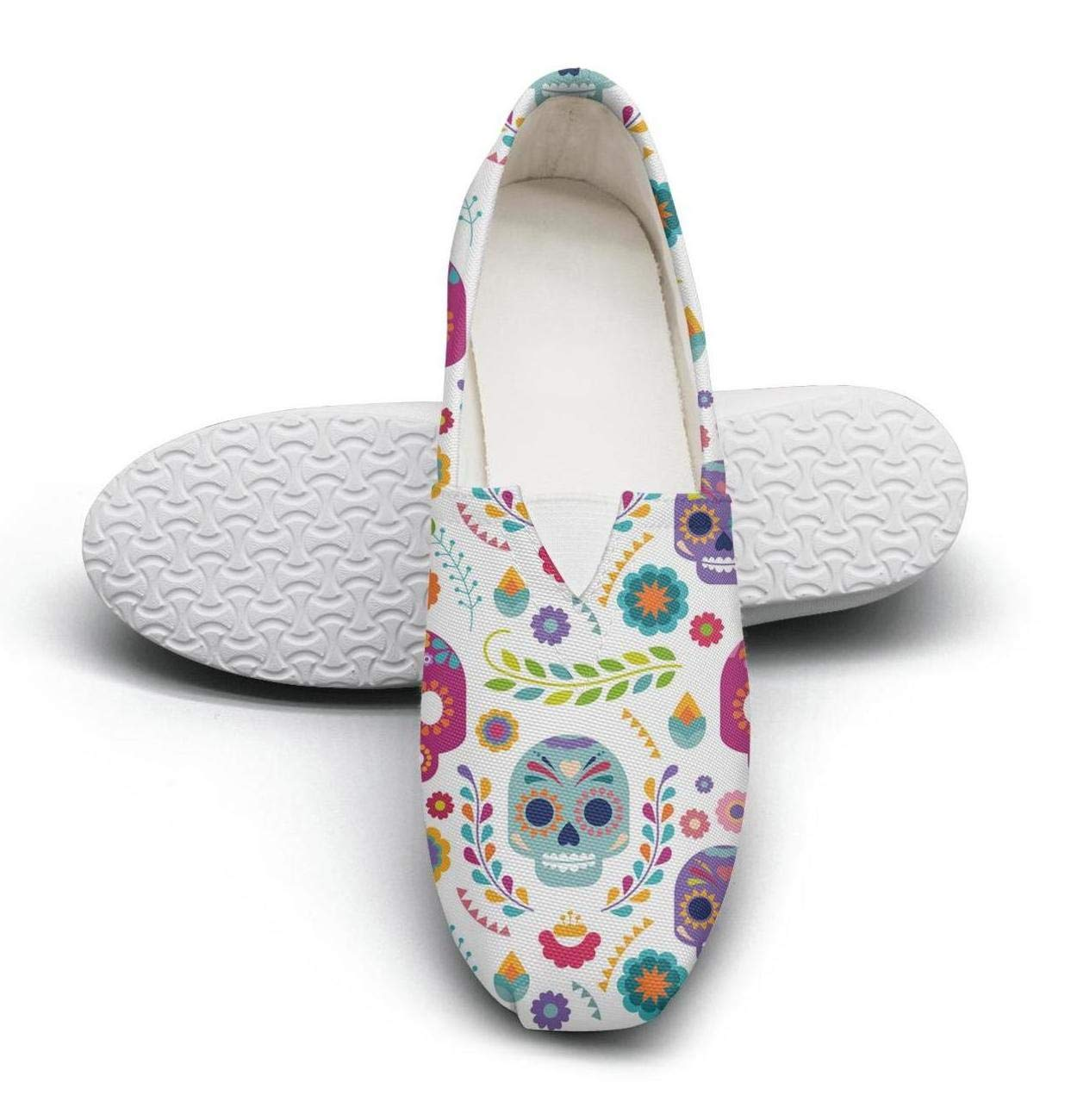 Classic Hip Hop Women's Canvas Flat Shoes-Mexico Skull and Flowers Style Comfortable Low Top Slip-On Sneaker by Hotqq