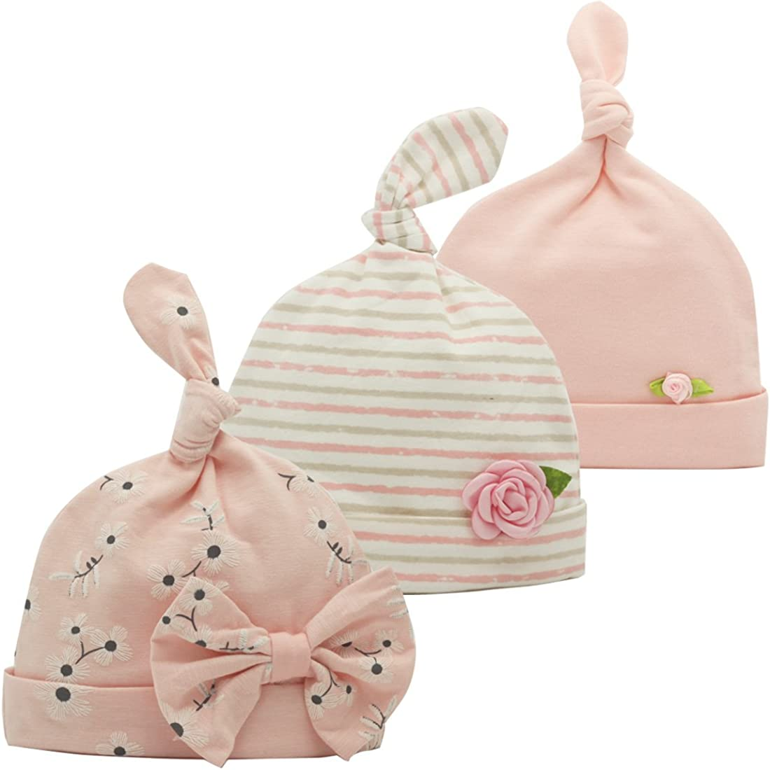 Newborn Beanie Baby Hats 0-6 Months 6-12 Months Girl Bow Caps Hospital Beanie Set