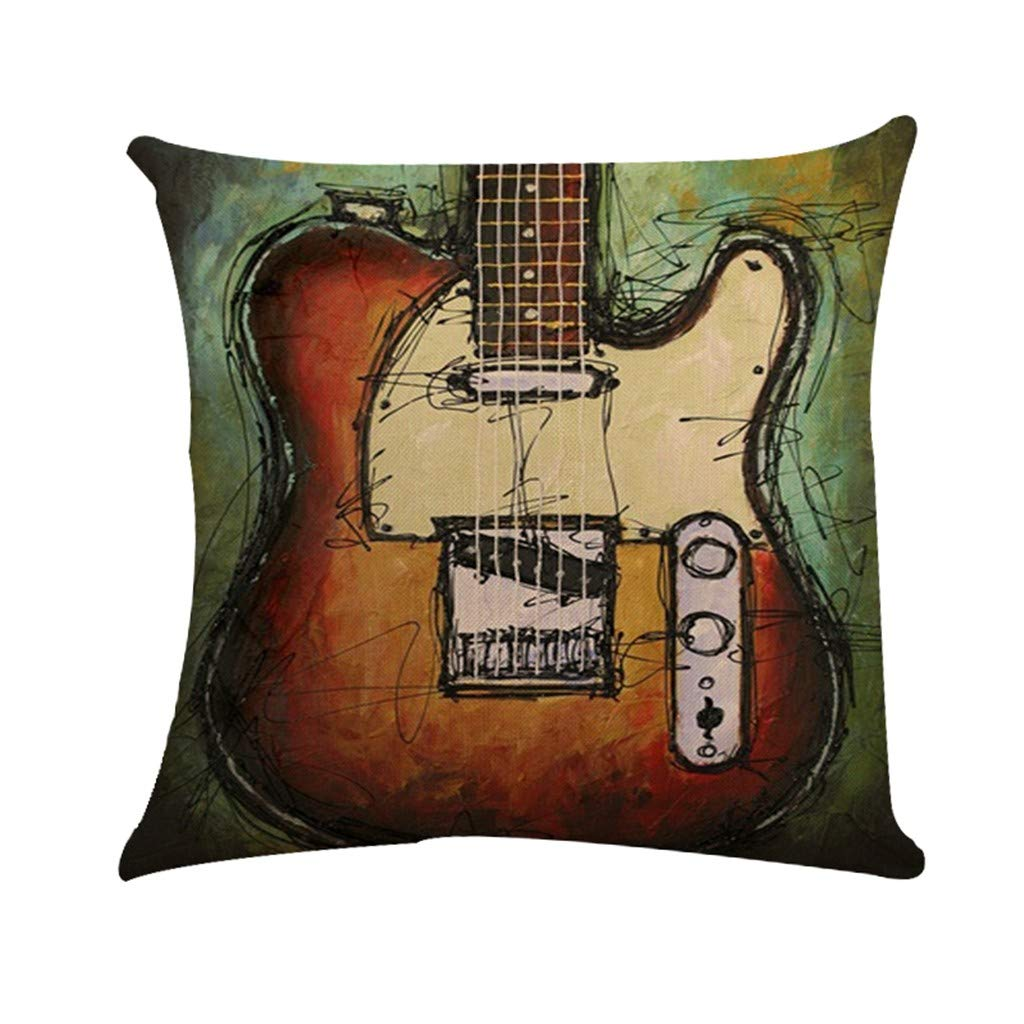 Cyhulu Quote Throw Pillow Cushion Cover, Realistic Instruments Print Square Pillow Case for Home Living Room Bedroom Sofa Art Decoration, Guitar, Saxophone, Piano (F, One size)