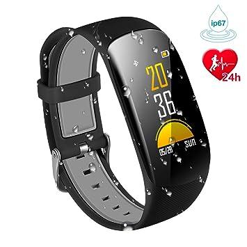Karseen Fitness Tracker H2Plus Reloj inteligente resistente al agua con pantalla OLED color con monitor de actividad cardiaca(negro): Amazon.es: Deportes y ...