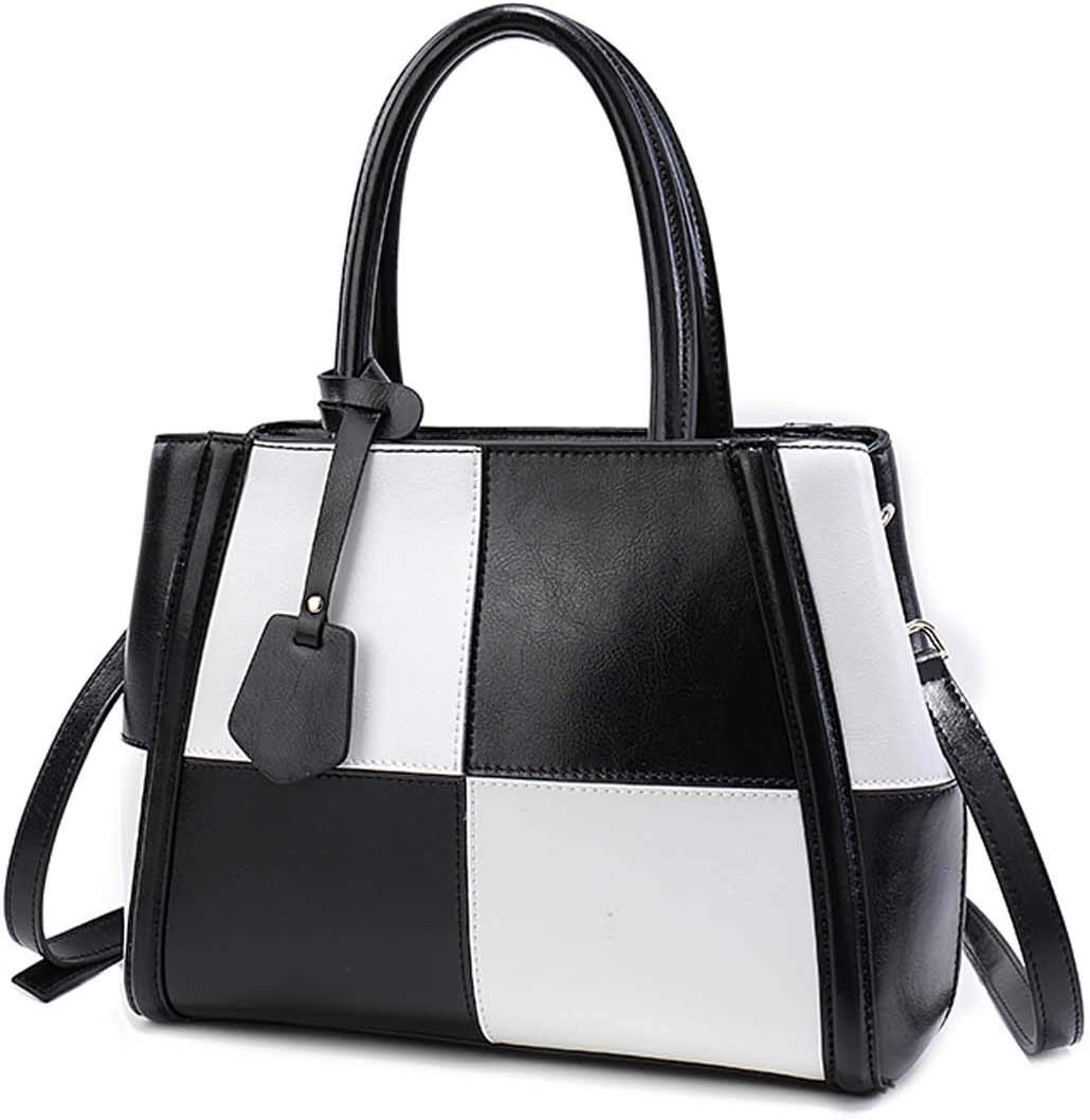 WSGZH Sac À Bandoulière en Cuir pour Femme Sac À Main Style Satin Quatre Couleurs en Option Black and white grid
