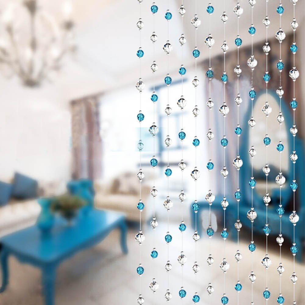 Riohouse Crystal Bead Curtain 10 PCS 1 Meter Hanging Bead String Fashion Glass Tassels Wedding Christmas Club Party Decor (Blue)
