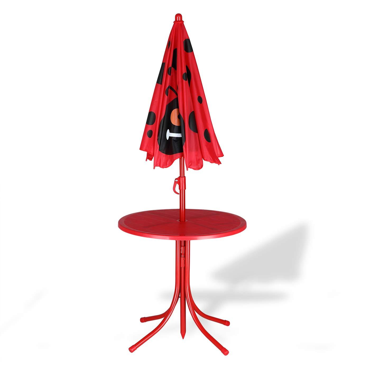 Deuba Kids Table and Chairs Set Outdoor Patio Umbrella Set Indoor Outdoor Furniture