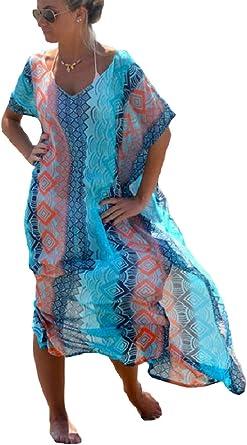 Womens Summer Turkish Robe Short Sleeve Cover Up Beach Wear Kaftan Loose Dress