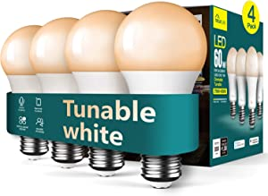 Smart Light Bulb Treatlife Smart Bulb, Tunable White Dimmable Works with Alexa and Google Assistant LED Light Bulb, 2.4GHz WiFi, 800LM, E26 A19 9W (60W Equivalent), No Hub Required, Smart Home