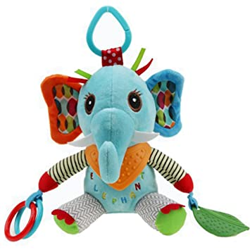 SKK Baby Stroller Car Seat Activity Toy Travel Buddies With Rattle Teether Elephant