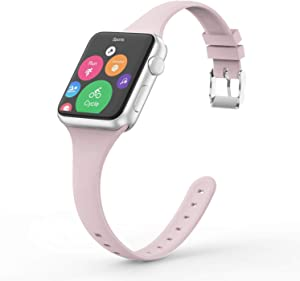 Vinyl Etchings Slim Band Compatible with Apple Watch 40mm 38mm 44mm 42mm for Women Men, Thin Narrow Replacement Soft Silicone Sport Strap for iWatch Series 6 5 4 3 2 1 SE (Pink Sand, 42/44MM)