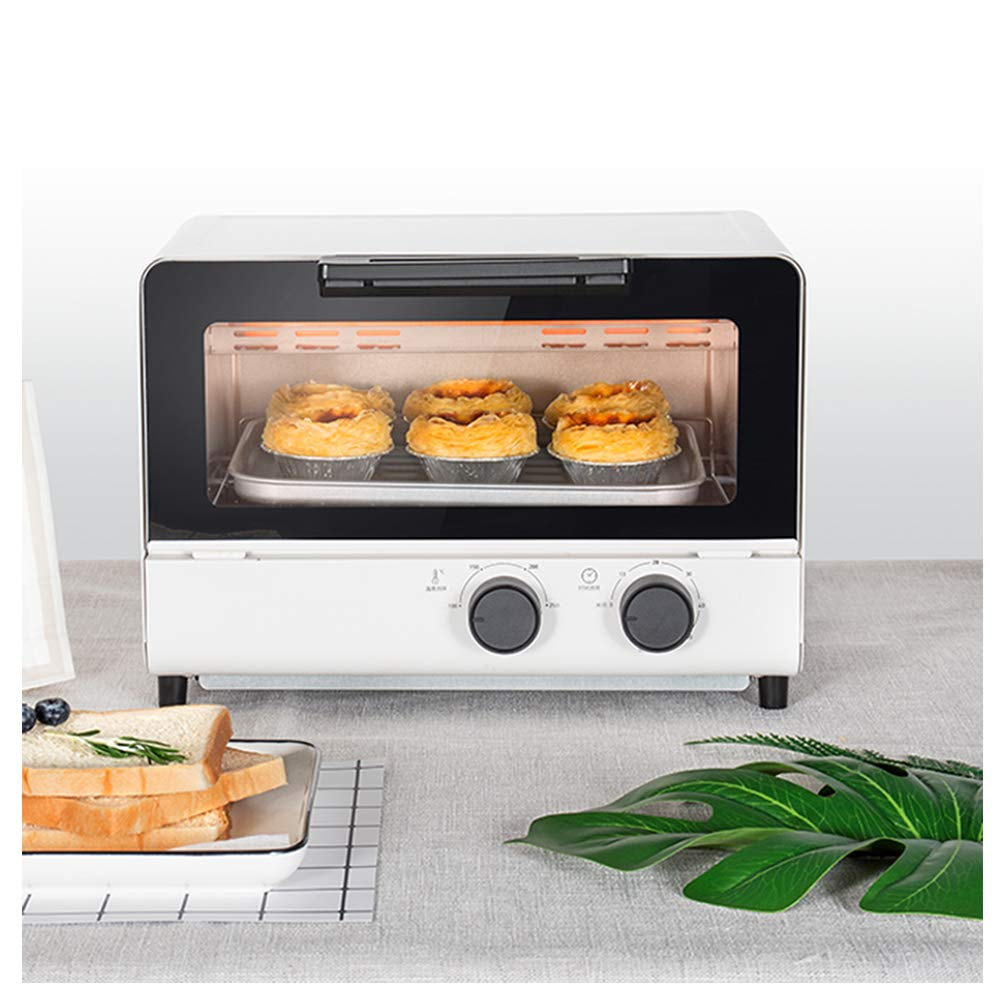 MDEOH Automatic Electric Oven Household Multi-Function Cake Bread Baking Mini Oven 12 Liter 1000 Watts White Unified Temperature Control for Upper and Lower Pipes