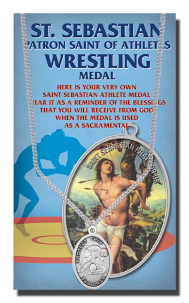Wrestling Saint Sebastian Pewter Medal on 24 Continuous Chain, Double-Sided Medal