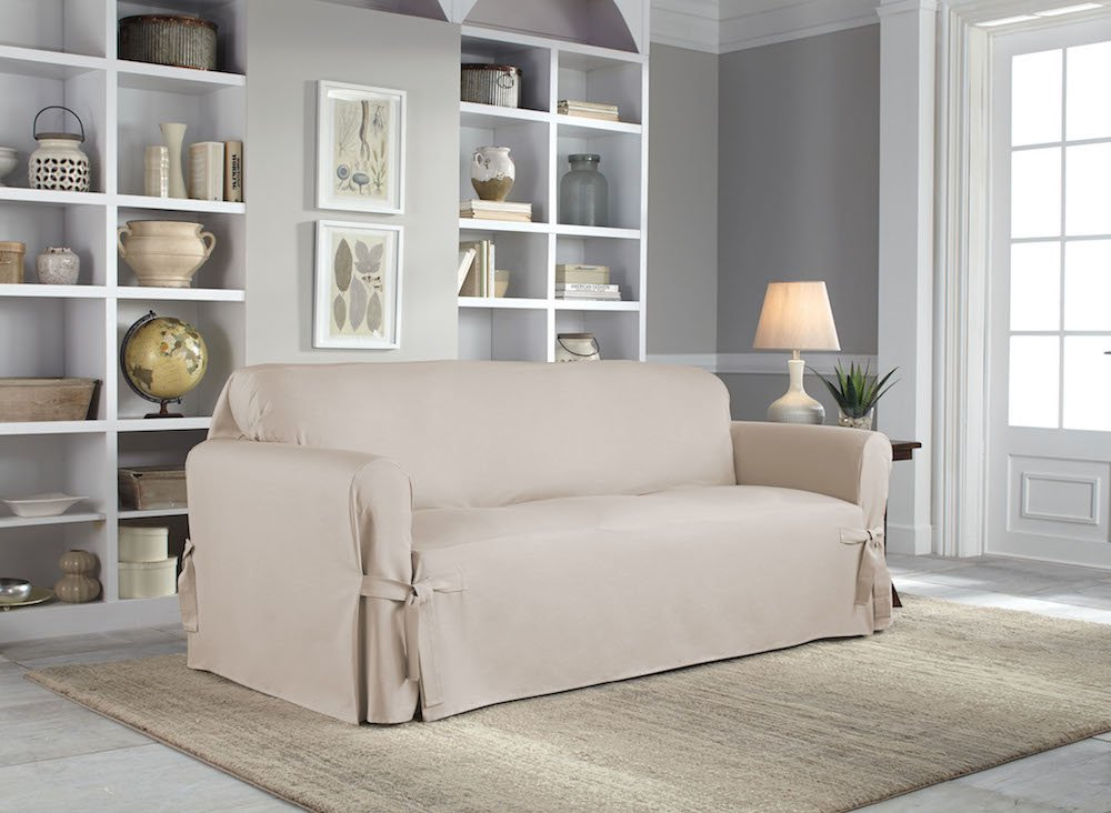 Serta | Relaxed Fit Durable Woven Linen Canvas Furniture Slipcover (Sofa, Khaki) by Perfect Fit (Image #3)