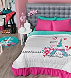 Girls Paris ''City of Love'' Bedding Collection (Full/Queen Size Bedspread)