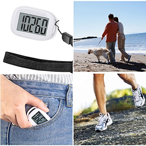 Tagvo 3D Pedometer, Easy Using Only One Button Simple Setting, Large Display 99999 Steps Counter, Portable Activity Tracker with Wrist Strap, Battery Included