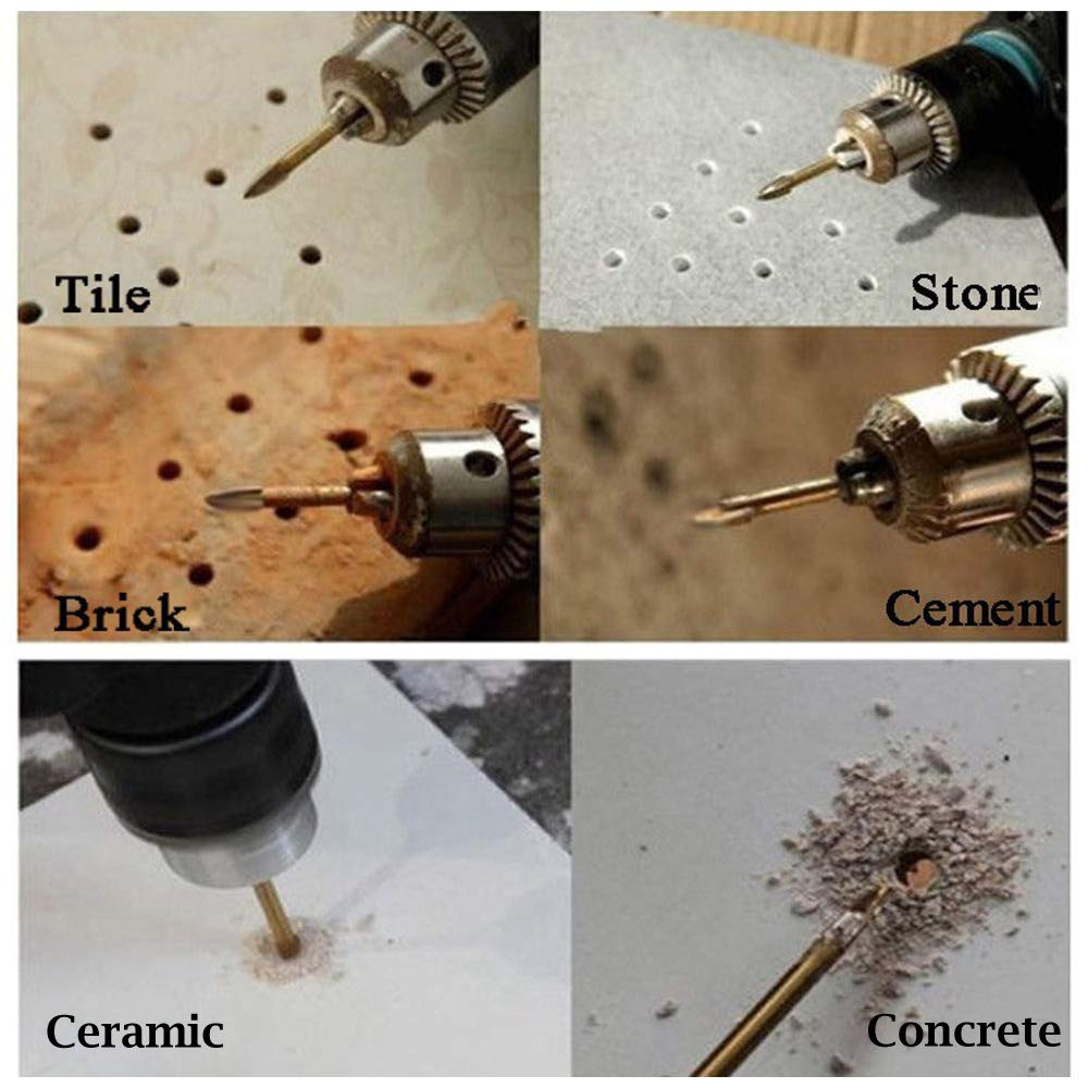 Titianium Coated and Tungsten Carbide Tipped for Drilling Tile Glass Brick Ceremic Concrete Wood Hymnorq 7pcs Hex Shank Masnory Drill Bit Set Metric 3mm 4mm 5mm 6mm 8mm 10mm and 12mm Spear Cutter