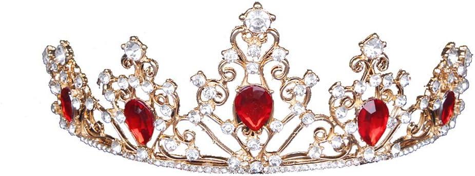 Moda Corona Gorros Aleación delicada Piedras preciosas Corona Mujeres Chica Reina Banquete Fiesta Sombreros Novias Concurso Reina Corona Diadema de boda - 15x15cm (Rojo)