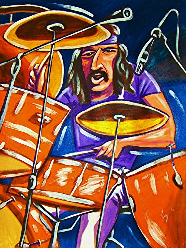 (JOHN BONHAM PRINT POSTER drums cd lp record album vinyl Led Zeppelin II III tom tom snare cymbals kick jimmy page)