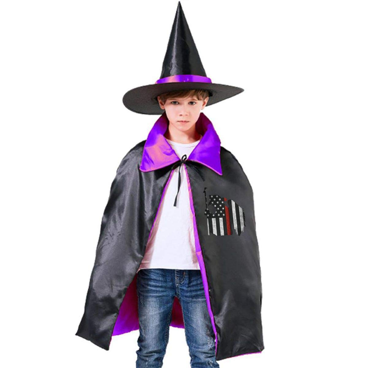 Children Thin Red Line Flag Fireman-01.png Halloween Party Costumes Wizard Hat Cape Cloak Pointed Cap Grils Boys