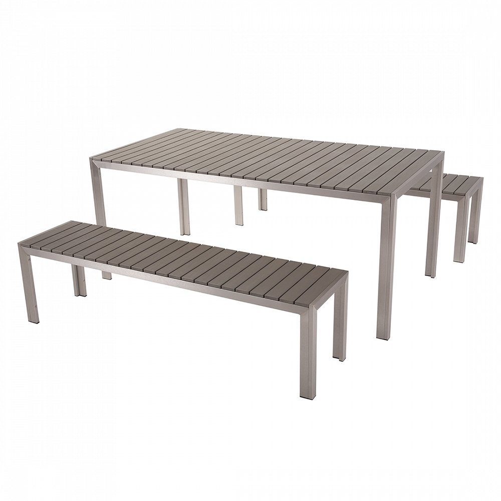 aluminium gartenm bel set grau tisch 180cm 2 b nken polywood nardo g nstig online kaufen. Black Bedroom Furniture Sets. Home Design Ideas