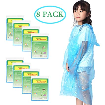 Disposable Emergency Poncho Kids Rain Ponchos Pack of 20 Raincoats with Hood 42 x 60 Inches Clear