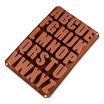 26 Letras Inglesas Chocolate Silicona Moldes, Moldes de Jabón, Molde de Silicona para Hornear para Chocolate DIY, Cubitos de Hielo, Galletas, ...