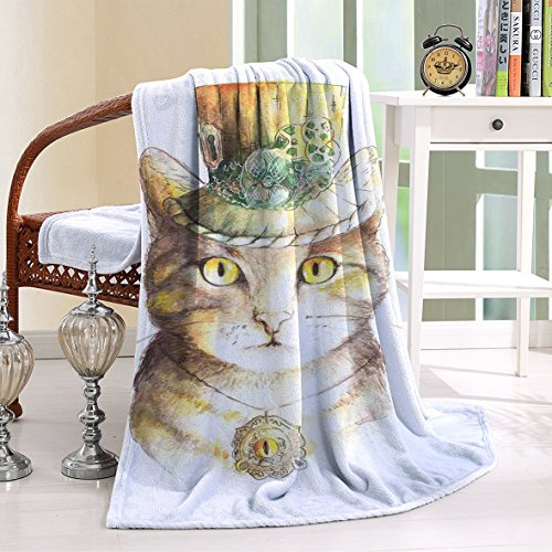 HAIXIA Throw Blanket Lover Spiritual Cat with Hat and Occult Eye Collar Grunge Trick Yellow Grey