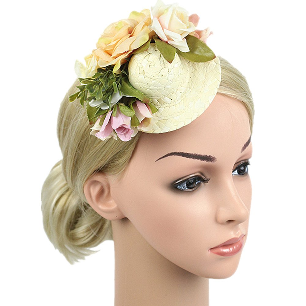 MEiySH Women's Vintage Flower Feather Mesh Net Fascinator Feather Pillbox Hat with Veil Hair Clip Party Wedding (Small-Ivory)