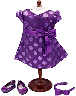 American Girl Bitty Baby Purple Polka Dot Holiday Dress Shoes Outfit NEW IN BOX