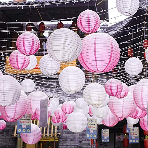 Sonnis Paper Lanterns 12'' 10'' 8'' 6'' Round lanterns for Birthday Wedding Baby Showers Party Decorations pink (12pack) by Sonnis (Image #5)