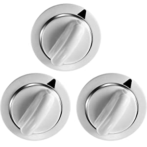 SATINIOR 3 Pack Timer Knobs WE1M654 Dryer Time Knob with Metal Ring Replacement Part White D-Shaft Replacement Fit for General Electric and Hotpoint Dryers, Replace AP3995098 WE01M0443 WE1M443