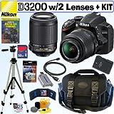 "Nikon D3200 24.2 MP CMOS Digital SLR Camera with 18-55mm f/3.5-5.6G AF-S DX VR and 55-200mm f/4-5.6G ED IF AF-S DX ""VR"" Zoom-Nikkor Lenses + EN-EL14 Battery + 32GB Deluxe Accessory Kit, Best Gadgets"