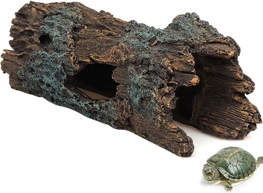 La La Pet Reptile Log Hideaway Reptile Hideouts Resin Wood Gecko Hides and Caves Bark Bends Lizard Habitat Decor Aquarium Fish Tank Accessories for Spiders Snake Frog Turtle Amphibians