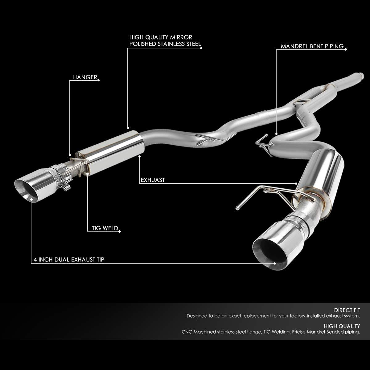 for 15-18 Ford Mustang 2.3L DNA Motoring CBE-FM15-23T-T2 3 OD Cat Back Exhaust System+Muffler Tip
