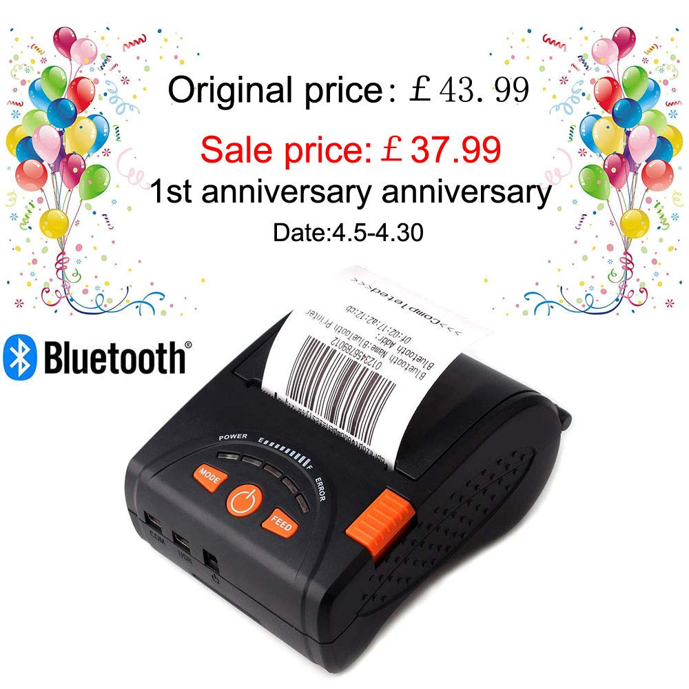 58mm Bluetooth Thermal Wireless Printer MUNBYN Thermal Receipt Printer for Android iPhone iPad with Rechargeable Battery ESC//POS