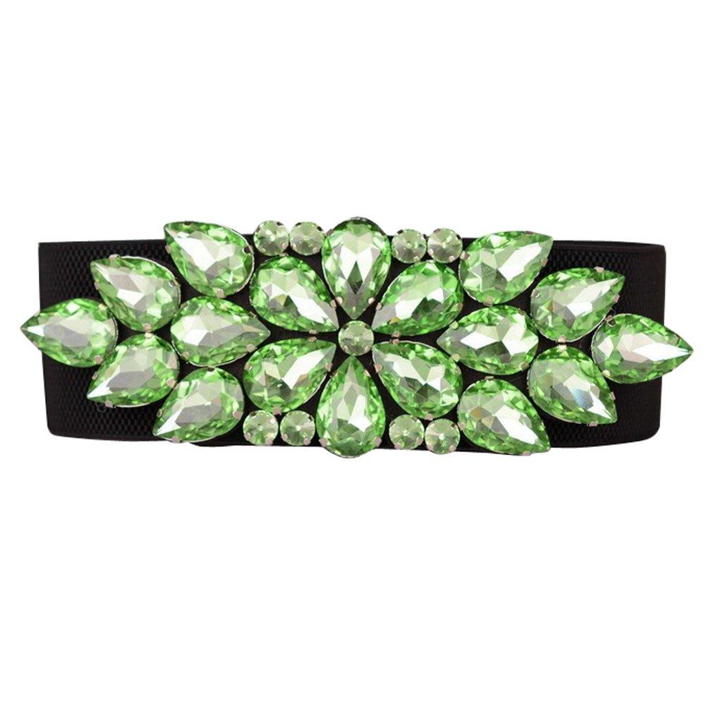 SanJL Women's Elastic Stretch Waist Belt for Dress Crystal Waistband (Mint Green)