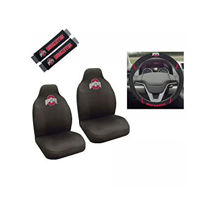 Ohio State University Buckeyes 2 Seat Covers And Shoulder Pads With Wheelcover