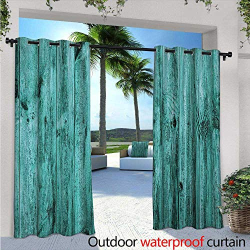 BlountDecor Turquoise Balcony Curtains Wall of Turquoise Wooden Texture Background and Antique Timber Furniture Artful Print Outdoor Patio Curtains Waterproof with Grommets W120 x L84 Blue