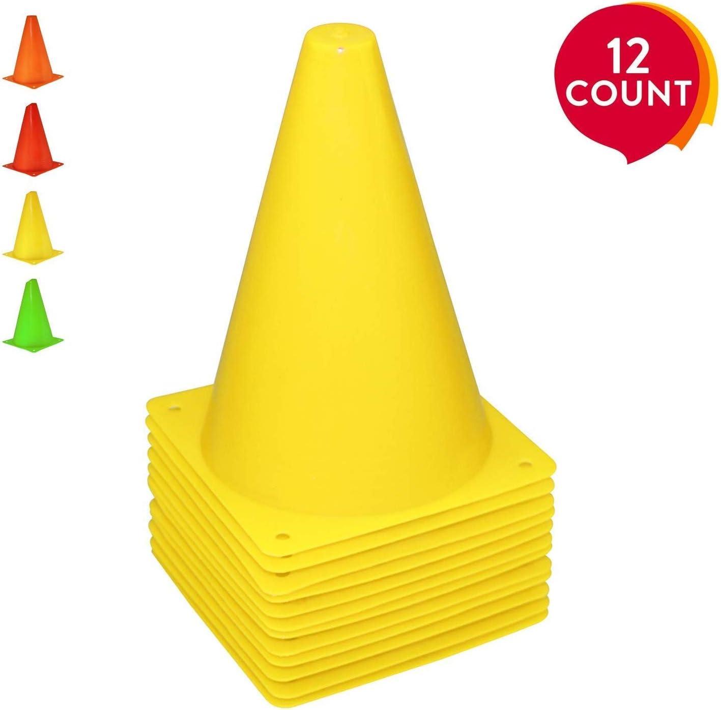REEHUT 7.5 Pulgadas de Cono de tráfico plástico para Entrenamiento (Juego de 12 o 24) - 4 Colores