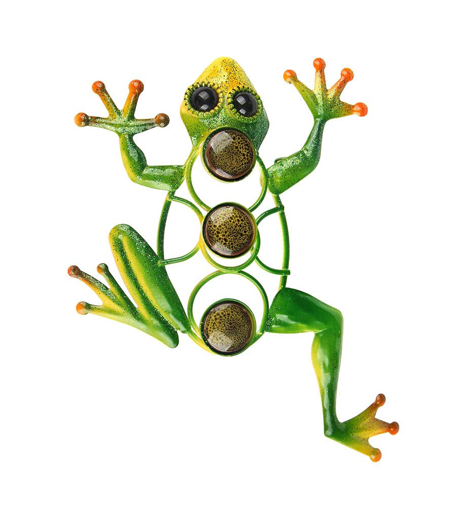 Liffy Frog Wall Decor Outdoor Metal Art Decorative Glass Sculpture Green for Garden