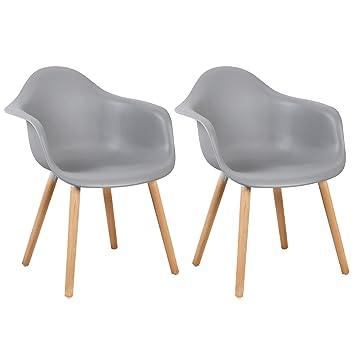 WOLTU® BH37gr 2 Esszimmerstühle 2er Set Esszimmerstuhl Mit Lehne Design  Stuhl Küchenstuhl Holz Grau