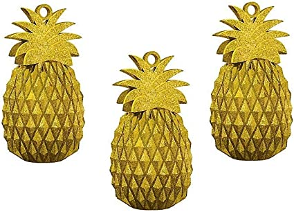 8 x Luxury Golden Pineapple Tropical Party Paper Cups Gold Foil Finish