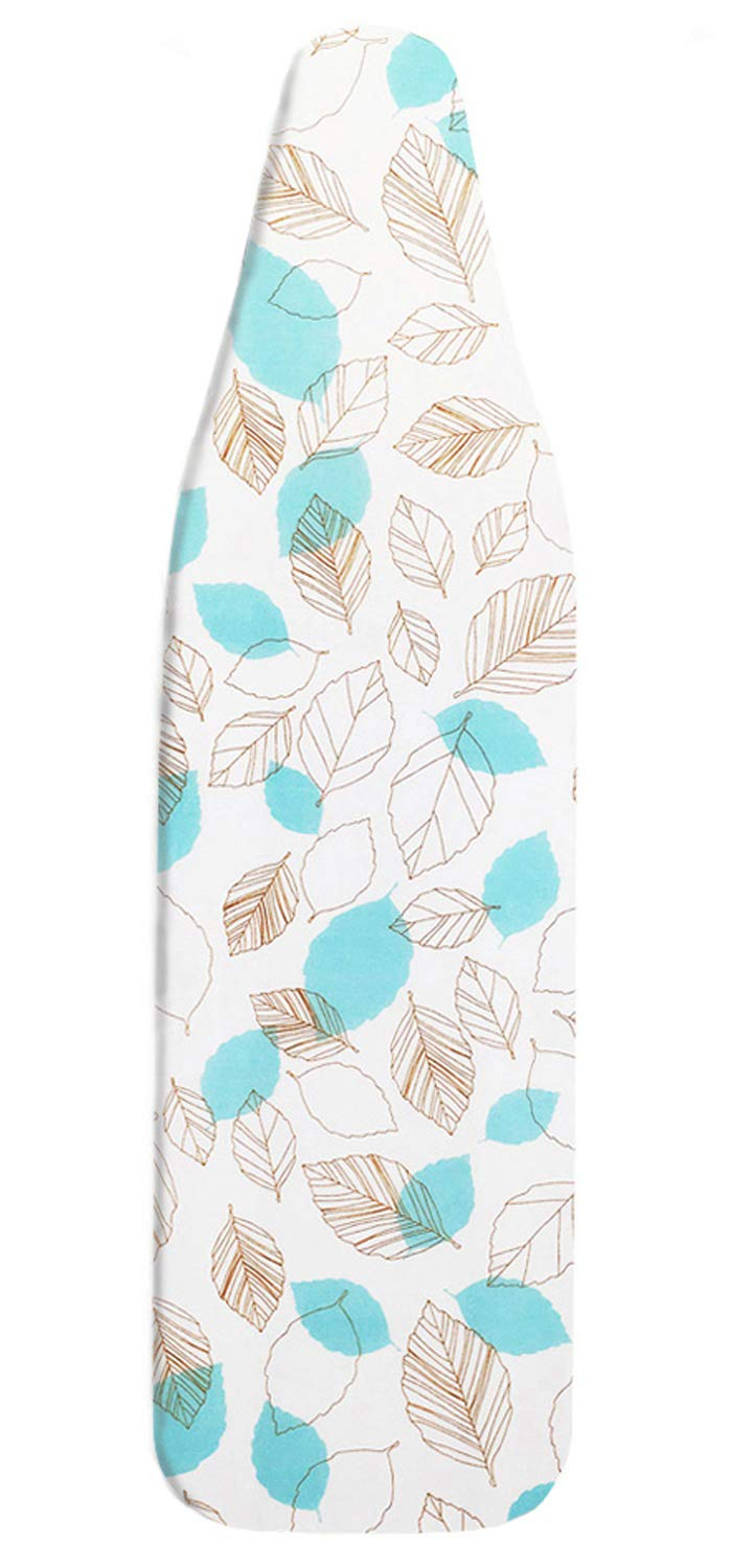 HOMILA Ironing Board Cover 100% Cotton Ironing Cover Leaf Heat Resistant Ironing Board Padding 15'' x 54'' Premium Heavy Duty Cover and Pad, 1 Extra Protect Ironing Glove