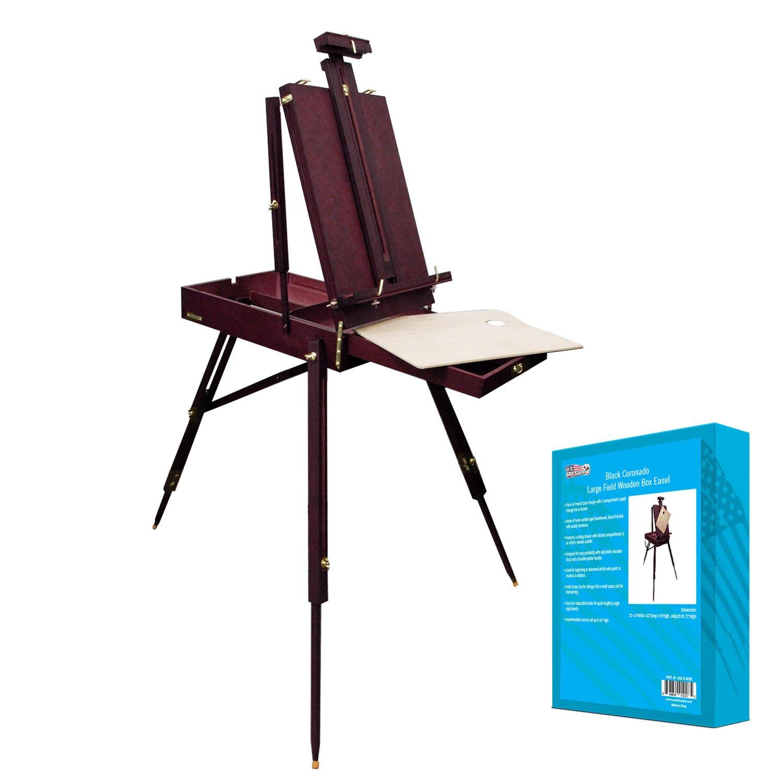 U.S. Art Supply Black Cherry Coronado French Style Easel & Sketchbox with 12'' Drawer, Wooden Pallete & Shoulder Strap