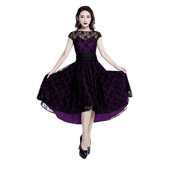 Chic Star Purple Dress with Black Lace Overlay Standard to ...