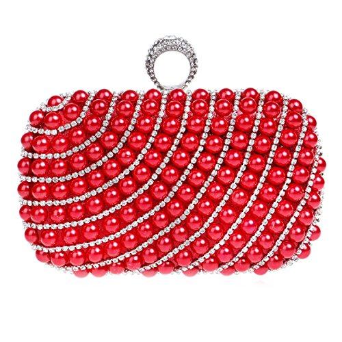 Sacs spéciale Glitter Wedding Soirée Rouge de Sac main Pochette Femmes Faux Occasion à et Pearl Flada soirée Diamond Rouge gqA76FAx