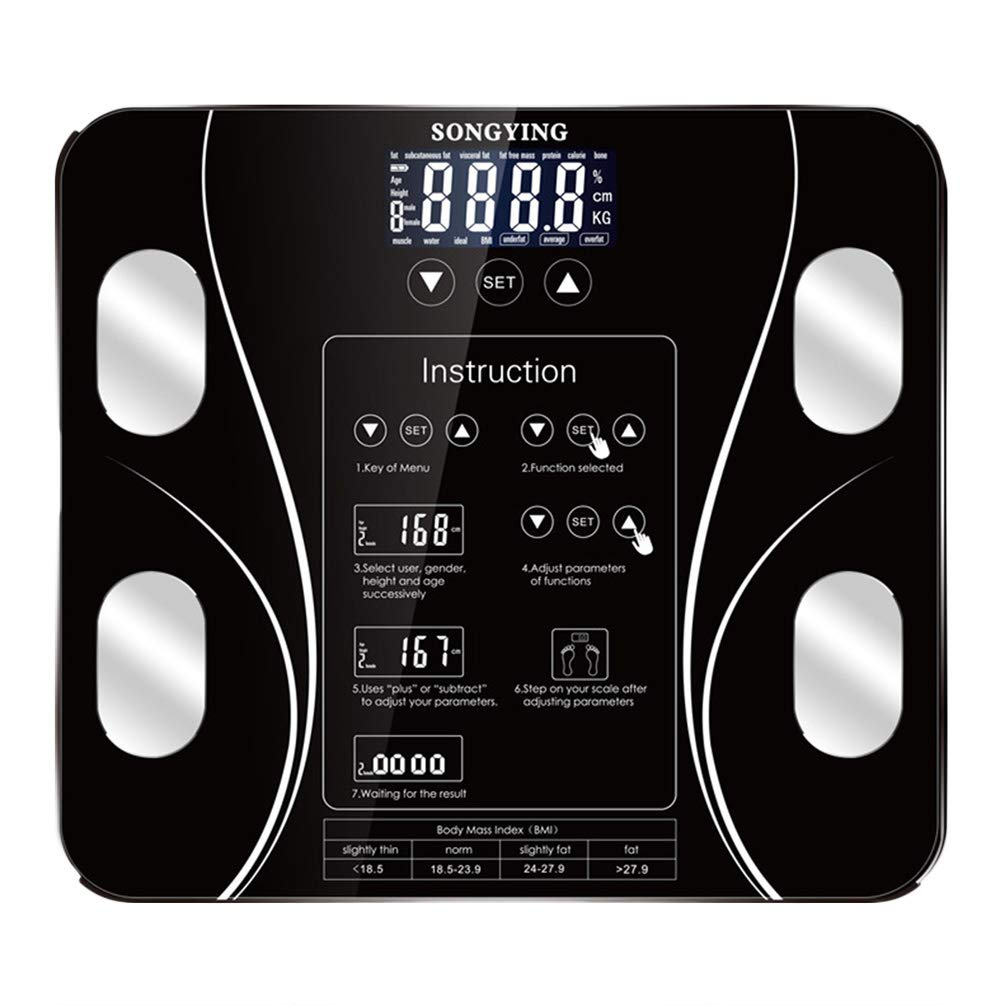Scales Bathroom Body Fat, Tempered Glass Smart Touch BMI Scale for Adults Women Men Sport Gym Fitness by ViVseliy