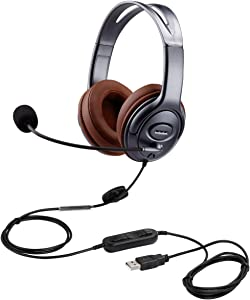 USB Headset with Microphone Noise Cancelling and Volume Controls, Computer PC Headphone with Voice Recognition Mic for Dragon Teams Zoom Skype Softphones Conference Calls Online Course Gaming and More