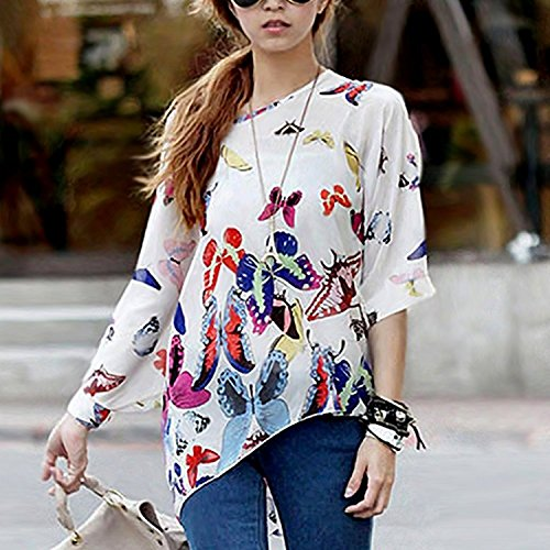 Bianco Maglia Chiffon Shirt Stampa Bohemian T Bianco Donna Manica Estate 3 Blouse Geometrica 4 7ZwxHqxXd
